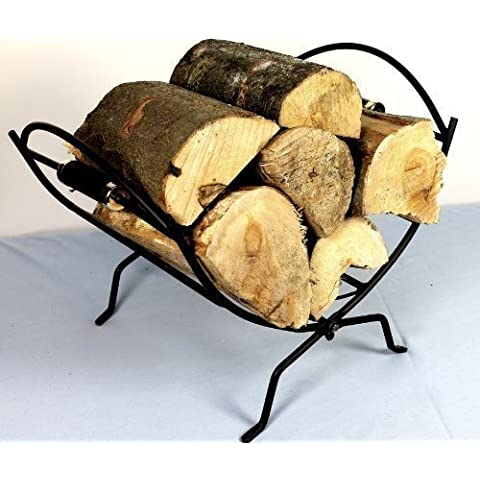 Folding Black Log Holder Basket Rack for