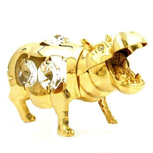Decus nobilis 70630 - figurine collezionabile ippopotamo crystal temptations swarovski spectra elements placcati di oro 24 carati - decorativo casa ornamento souvenir regalo figura figurine