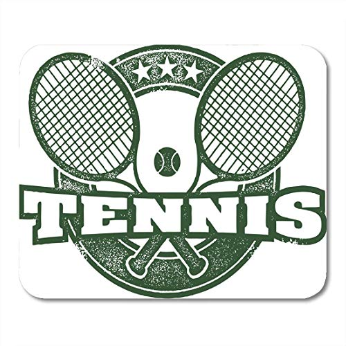 Luancrop Almohadillas para ratón Retro Negro Raqueta Vintage Tenis Deporte Sello Insignia Raqueta Alfombrilla de ratón para portátiles, Computadoras de Escritorio esteras Suministros de Oficina