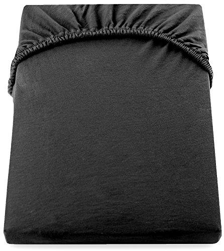DecoKing 17401 80x200-90x200 cm Spannbettlaken schwarz 100% Baumwolle Jersey Boxspringbett Spannbetttuch Bettlaken Betttuch Black Amber Collection - 5