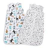 Lictin Gigoteuse d'Emmaillotage - 2pcs Couverture Bébé en Coton Biologique Couverture d'emmaillotage pour Bébé 2 modèles Longueur Ajustable de 70 à 90 cm Pour Bébé de 3 à 18 Mois