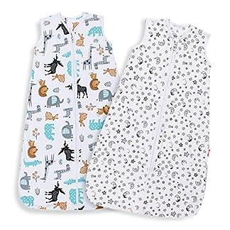 Licitn Saco de Dormir para Bebé – 2 PCS 0.5 Tog Saco de Dormir de Algodón Unisex para Bebés de 18 a 36 Meses, Ajustable 90-110cm para Primavera, Verano