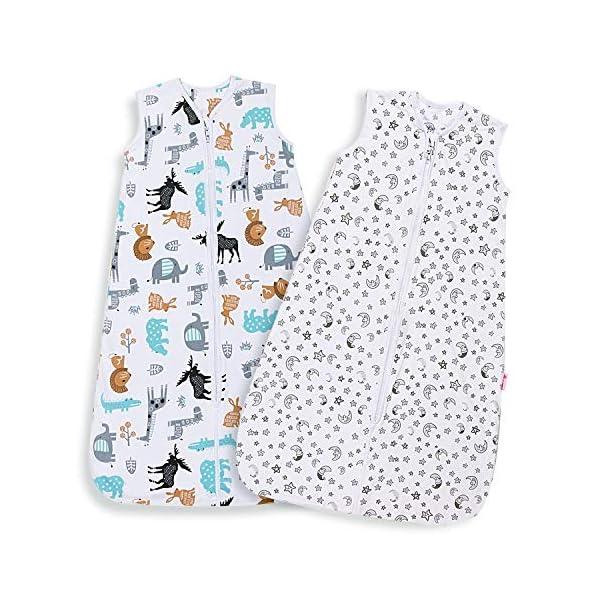Licitn Saco de Dormir para Bebé – 2 PCS 0.5 TOG Saco de Dormir de Algodón Unisex para Bebés de 18 a 36 Meses, Ajustable 90-110cm para Primavera, Verano (Blanco)