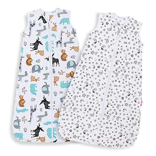 Lictin Schlafsack Baby Schlummersack Sommerschlafsack 0.5 Tog Babyschlafsack Einstellbar 90-110cm für Neugeborene 18-36 Monate