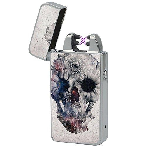 Elektronisches Feuerzeug -The Flame X- USB Feuerzeug Zigarettenanz&uumlnder Elektrische Feuerzeuge Aufladbar Double Lichtbogen (Astral Skull)