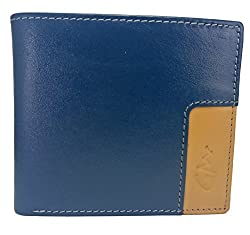 Gentleman Genuine Leather Wallets For Men (Tan Blue) Bi-Fold With 8 Card Slots