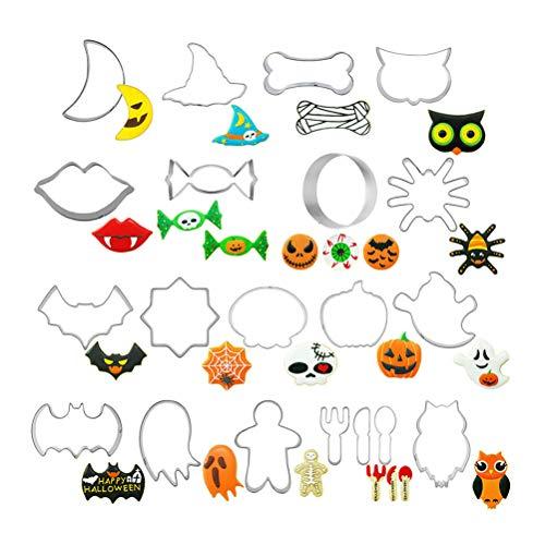 Pywee 20 STÜCKE Halloween Plätzchenform Edelstahl DIY Backform Halloween Keksform