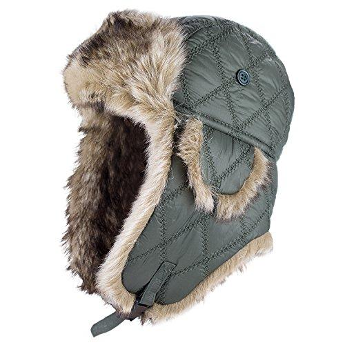 Black Snake® Thermomütze mit Innenfutter aus Kunstfell | Wintermütze für Damen und Herren | Fliegermütze | Pilotenmütze - L - Oliv