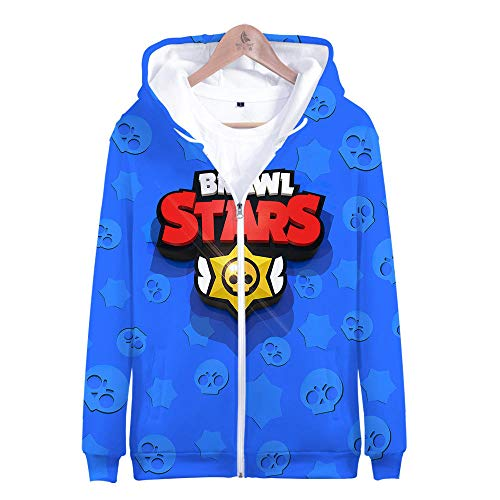 GNMLGB Kapuzenpullover,Brawl Stars, Zip Hoodie Für Herren, Hooded Zip Hood, Soft 3D Soft Und Stylish Cool 丨 Ms Blue S (Zip-hood Sweatshirt Star)