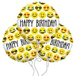 Bazaar 3Pcs 18inch Happy Birthday Expression Balloon Emoji Foil Ballon For Birthday Party Decoration Balloo