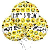 Bazaar 3Pcs 18inch Happy Birthday Expression Balloon Emoji Foil Ballon For Birthday Party Decoration Balloo