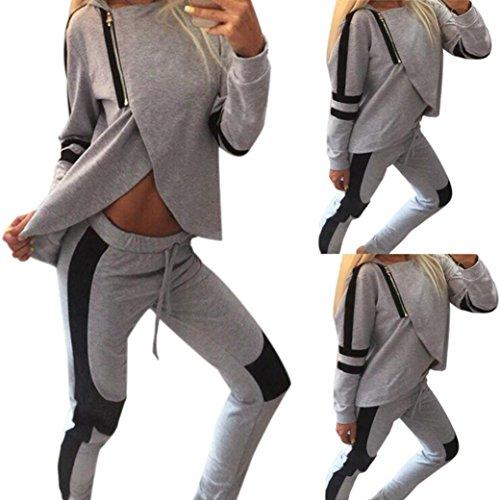 Morwind Womens 2Pcs Tracksuit Set, Women Girl Long Sleeve Tracksuit Zipper Sport Suits Tops Pants Set,Hoodies Sweatshirt Sporting Pants Trousers Set Sport Tracksuit 2 Pieces