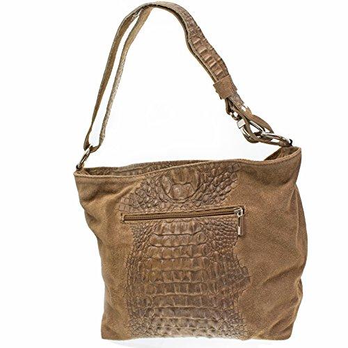 c9cbcf953ecb9d ... Ital Echt Leder Wildleder Handtasche Kroko Optik Damentasche  Schultertasche (weinrot) taupe