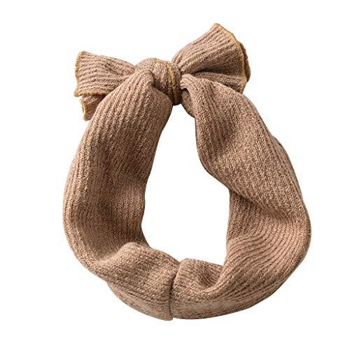 Yyooo Haarband für Kleinkinder und Babys, breit, dick, gerippt, gestreift, einfarbig, mit Rüschen, Kreuzschleife, koreanischer Stil