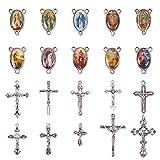 PandaHall Elite 10pcs Crucifijo de Plata Antiguo Colgantes de la Cruz tibetana Colgantes y 10pcs Crucifijo de la araña de la Virgen católica Enlaces ovales para Rosario Cuentas de Collar Sagrado
