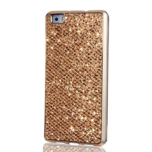 Custodia Huawei P8 Lite, KSHOP Case Cover per Huawei P8 Lite, Shiny Sparkly Bling Bling Glitter Conchiglia Caso Guscio Sottile TPU Silicone Gel d'oro [Shock-Absorption] Protettiva Ultra Sottile Cover Custodia Placcatura Bumper d'oro