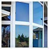 New 1Mx30cm One Way Solar Reflective Mirror Insulation Window Film Adhesive Privacy Opaque Glass Sticker Sunscreen Home Decor Blue