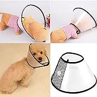 UEETEK Atmungsaktiver weicher Rand Elisabethanischer Kragen, Plastikschnappverschluss für Hunde und Katzen (40-47cm)