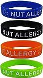 Pulseras de silicona con texto «NUT ALLERGY», 4 unidades, tamaño infantil, color azul, naranja,...