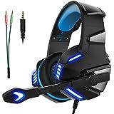 Headset Gaming Kopfhörer für PS4, PC, Xbox one, Micolindun mit Mikrofon Super Leicht Extremer Komfort Stereo Sound Bass LED für Laptop, Tablet, Mac, Handy (inkl. Adapter)
