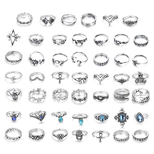 BE STEEL 48 STÜCKE Vintage Knuckle Ringe für Frauen Damen Stapeln Boho Finger Ring Set Krone Feder Elefant Wave Ring Modeschmuck