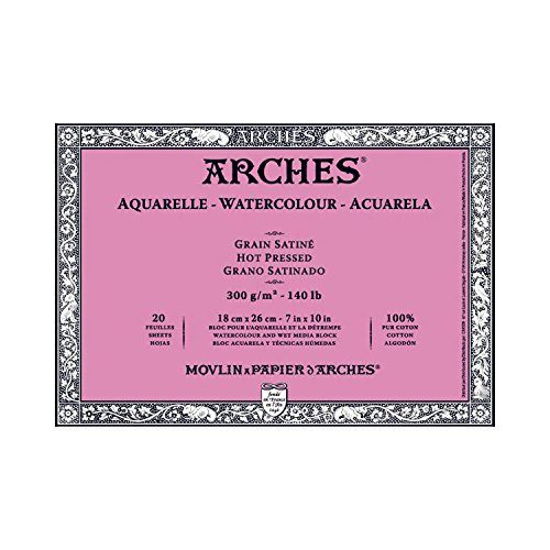 ARCHES WATERCOLOR BLOCK 140HP 20 SHEETS 12X16 INCHESARCHES WATERCOLOR BLOCK 140LB HOT PRESS 20 SHEET
