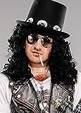 Männer Slash Style 80er Jahre lange lockige schwarze Perücke
