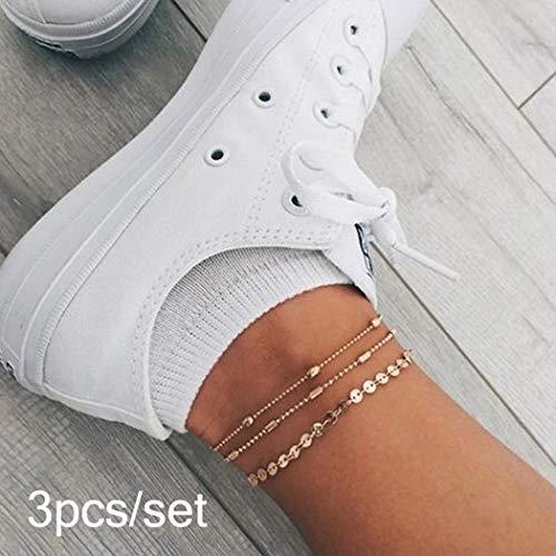 yered Fußkettchen Silber Fußkettchen mit Pailletten Fußschmuck für Frauen und Mädchen ()