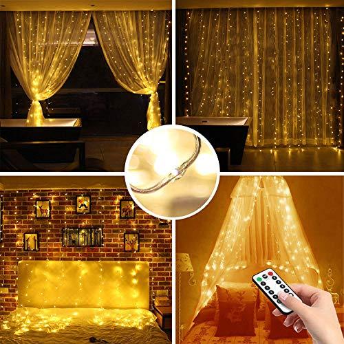 LED Lichtervorhang Lichterketten für Draußen,Batteriebetrieben,2M*2M,Wasserfest 200 LED Lichterkettenvorhang für Weihnachten Party Schlafzimmer Innen Deko-Fernbedienung,8 Modus,Timer,Dimmbar Warmweiß