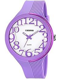 Calypso de mujer reloj de pulsera Fashion Analog PU de pulsera Lila Reloj de cuarzo esfera color blanco lila uk5706/3