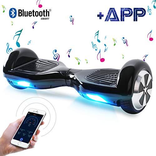"Kategorie <b>Zweirad E-Board (Hoverboard) </b> - BEBK Hoverboard, 6.5"" Elektro Scooter mit APP Funktion, Bluetooth Lautsprecher, 700W Motor, LED, Self-Balance E-Skateboard (Schwarz)"