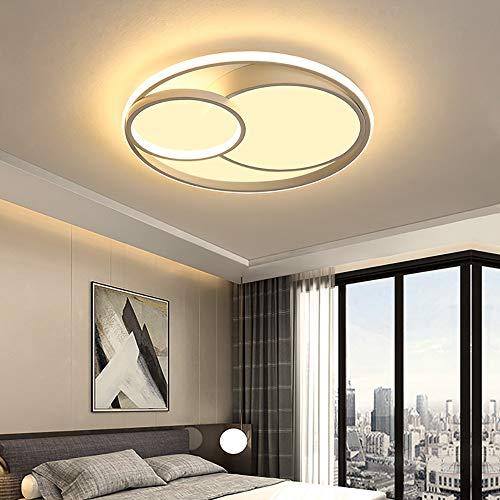LED-Deckenlampe Circular Deckenleuchten mit Fernbedienung Dimmbare Deckenleuchte Metall Acryl Lampenschirm Deckenlicht Schlafzimmer Küche Wohnzimmer Innenraum Deckenbeleuchtung,40CM (Weiß)