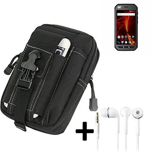 K-S-Trade Gürteltache für Caterpillar Cat S41 Dual-SIM Gürtel Tasche Schutzhülle Handy Schutz Hülle Smartphone Tasche Outdoor Handyhülle schwarz inkl. Extrafächer + Kopfhörer