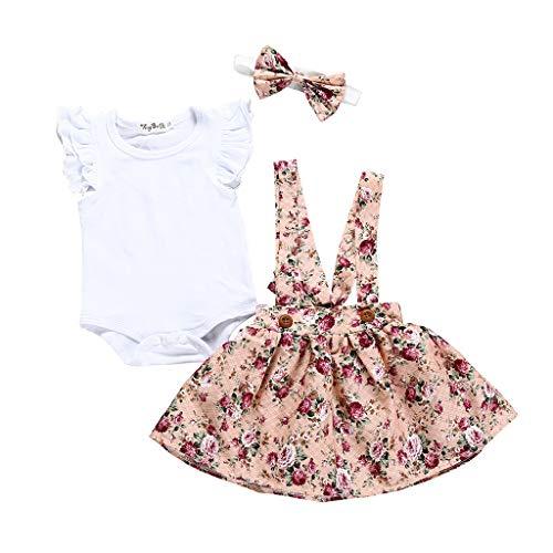 DWQuee Baby Mädchen Kleidung Set Rüschen Strampler+Blumenrock Outfits für 0-24 Monate