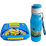 Pawan Plastic Minions School Time Combo Gift Set Of 550 Ml Lock And Fit Lunch Box With 600 Ml Sipper Bottle For Kids