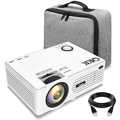 Projecteur QKK, 3500 Lumens Mini Projecteur avec Étui Portable, Vidéoprojecteur, Rétroprojecteur Prend en Charge 1080P Full HD, Compatible avec HDMI VGA AV SD USB, Home Théâtre Projecteur, Blanc. par QKK