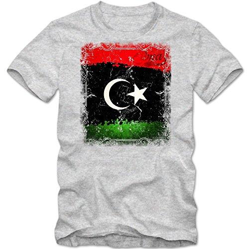 Libyen Flagge T-Shirt | Libyen | Königreich Libyen | Tripolis | Herrenshirt © Shirt Happenz Graumeliert (Grey Melange L190)