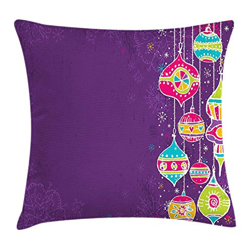 Christmas Throw Pillow Cushion Cover, Colorful Childish Doodle Traditional Christmas Balls Festive Kids Holiday Design, Decorative Square Accent Pillow Case, 18 X 18 inches, Multicolor