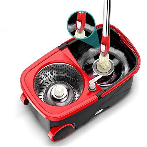 kuxuan Rotary Mop Bucket Tragbare Magic Double Drive Edelstahl Hand Druck Rotierende Blei Home Bodenreinigungsset Rot