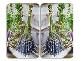 WENKO 2521448500 Herdabdeckplatte Universal Lavendel-Strauß - 2er Set, für alle Herdarten, Gehärtetes Glas, 30 x 1.8-4.5 x 52 cm, Mehrfarbig