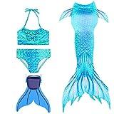 Modaka Badeanzug Monoflosse Badebekleidung Mädchen Meerjungfrau für Girls 4 Stück Set zum Schwimmen(Blau 130cm)