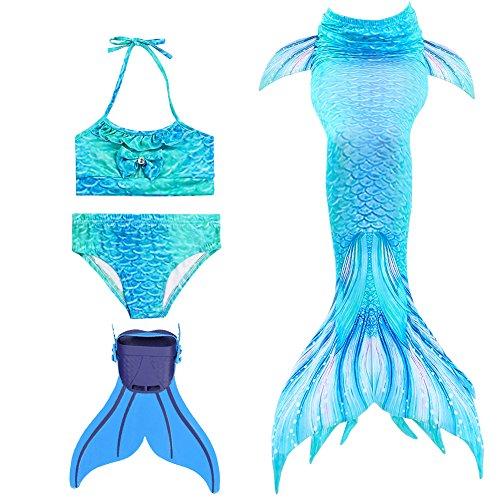 Modaka Badeanzug Monoflosse Badebekleidung Mädchen Meerjungfrau für Girls 4 Stück Set zum Schwimmen(Blau 140cm)