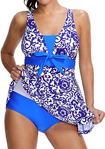 Bettydom Damen Geblümt One Piece mit Shorts Spa Badekleid Strandkleid Swimwear 2 Saphirblau
