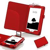 Forefront Cases® Nuovo E-reader Kindle, schermo touch da 6' (15,2 cm) (Luglio 2016 - 8ª Generazione) Case Cover Custodia Caso Conchiglia in pelle con luce di lettura a LED - Protezione dispositivo completa immagine