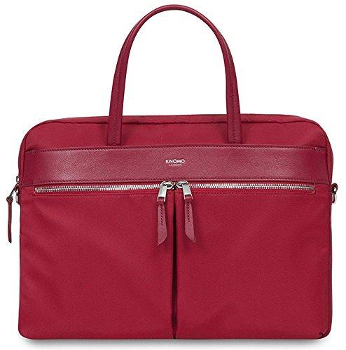 Knomo 119-101-CRY Mayfair Hanover Slim Briefcase schmale und äußerst leichte Damen Notebook-Aktentasche für 14 Zoll Notebooks | Cherry