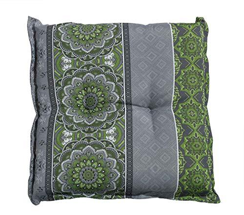 Hockerauflage Sitzpolster Gartenhockerauflage | 50 x 50 cm | Grün | Mandalamotiv | Baumwolle | Polyester