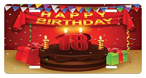 ZTLKFL 18th Birthday License Plate by, 18 Happy Birthday Party with Curtains Cakes Baloons Adulthood Image, High Gloss Aluminum Novelty Plate, 5.88 L X 11.88 W Inches, Red and Burgundy -