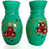 U Like Decorative Glass Flower Vase Embossed With Sparkling Flowers | Perfect Home Decorative Flower Pot Set Of 2 (6 Inch) (Green)