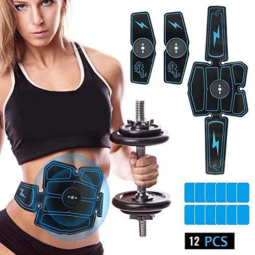 Bonheur elettrostimolatore per addominali, elettrostimolatore muscolare ems professionale usb ricaricabile per addome/braccio/glutei/gambe per uomo donne