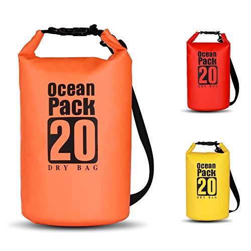 BWei Dry Bag, Wasserdicht Taschen/Packsack mit Lang Verstellbarem Schultergurt für Boot und Kajak, Angeln, Rafting, Schwimmen, Camping und Snowboarden (Orange, 20L) -